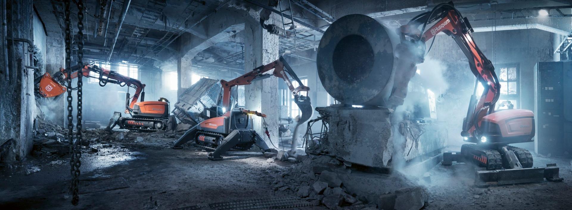 Roboty budowlane Husqvarna Tak wygląda przyszłość  branży rozbiórkowej